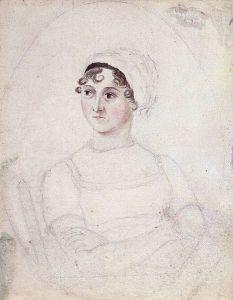 Portrait of Jane Austen in watercolour and pencil. By Cassandra Austen.