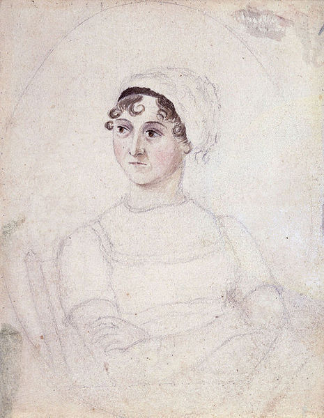 Portrait of Jane Austen in watercolour and pencil. By Cassandra Austen.