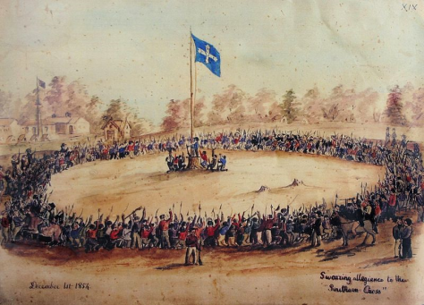 Swearing Allegiance to the Southern Cross on 1 December 1854 — watercolour by Charles Doudiet.