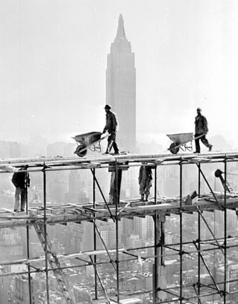 This is a 1949 image of the United Nations building in New York under construction in 1949. The building was completed in 1952.