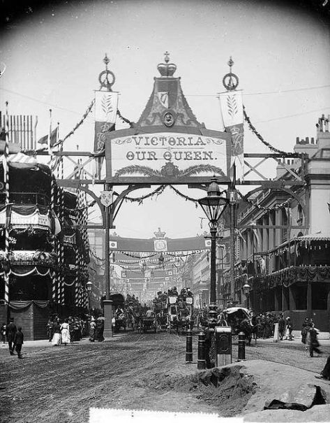 View down Regent Street looking north and showing the decorations for Queen Victoria's Golden Jubilee in 1887.