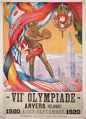 1920_olympics_posterPoster of the 1920 Olympic Games. Printed in 90 000 copies in 17 languages plus French-Flamish bilingual versions.