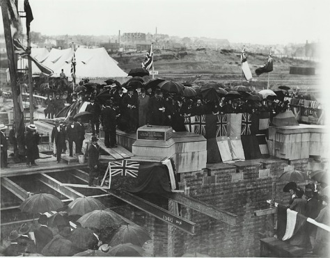 719px-Laying_the_foundation_stone,_Central_Station_1903_(5207836628)Laying the foundation stone for Central Railway Station, Sydney Dated 26-9-1903.