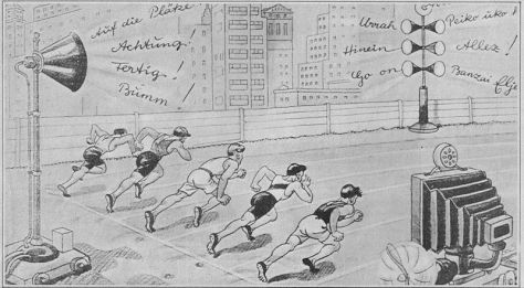 A humorous cartoon from the 1936 Berlin Olympics envisages the year 2000. Television technology has progressed to the point where spectators can watch events at home while radio, applying wireless technology.