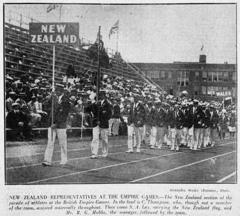 New Zealand at the opening of the first British Empire Games, Ontario, 1930.