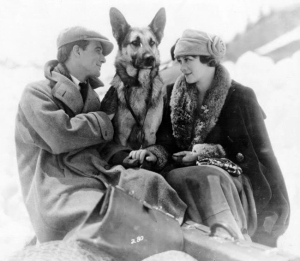 Promotional still for the 1922 film Brawn of the North, featuring Strongheart and Irene Rich