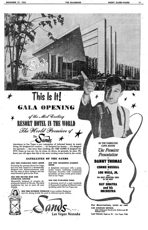Sands_opening_ad_Billboard_1952Opening of the Sands Hotel & Casino in Las Vegas-ad in Billboard December 27, 1952.