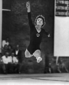 Ukrainian gymnast Larisa Latynina was born in Kherson in December, 1934. black and white