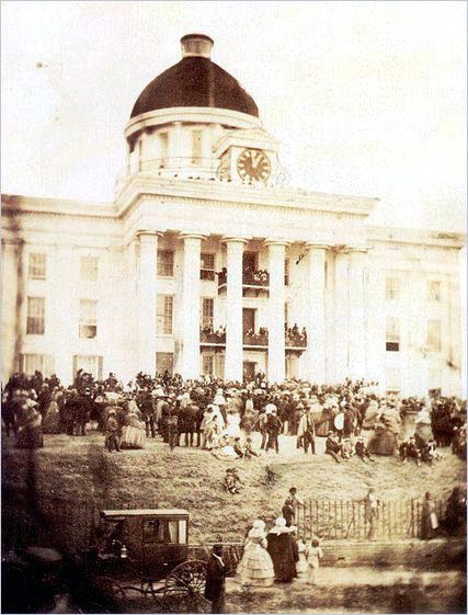jefferson-davis-was-inaugurated-as-the-first-and-only-president-of-the-confederate-states-of-america-after-the-south-seceded-the-ceremony-was-held-at-montgomery-the-first-confederate-capital-on-feb