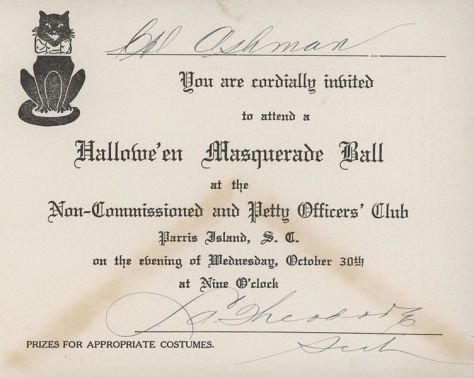 this-invitation-was-sent-to-edward-ashmann-inviting-him-to-a-halloween-masquerade-ball-at-the-non-commissioned-and-petty-officers-club-parris-island-the-ball-was-held-on-30-october-1935