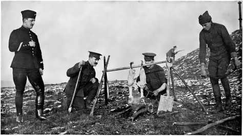 with-spit-held-by-rifles-a-spade-and-a-couple-of-sticks-cooking-the-christmas-geese-at-the-front-30th-december-1914