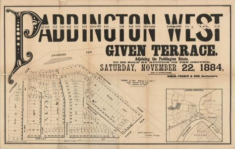 estate-map-of-paddinton-west-given-terrace-brisbane-queensland-1884-estate-map-showing-allotments-to-be-sold-on-the-22nd-november-1884-by-simon-fraser-son-auctioneer-the-land-was-surveyed-by
