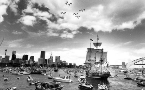 first-fleet-reenactment-for-australias-bicentenary-australia-day-26th-january-1988-sydney-harbour