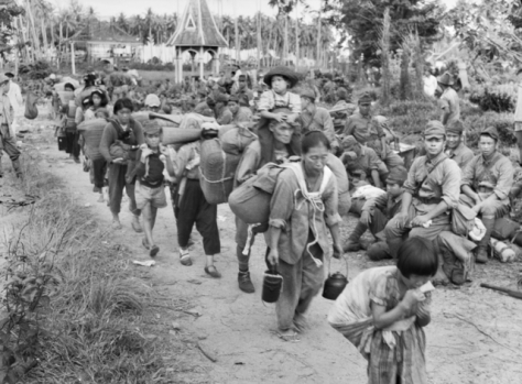 21st of October, 1945. After surrendering to Australian forces, Japanese soldiers and civilians on the Southeast Asian island of Borneo prepare to leave for Jesselton (modern-day Kota Ki