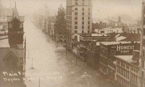 4th Street of Dayton, OH, USA during Great Miami Flood in 1913.