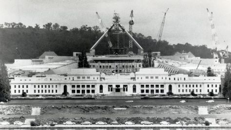 Construction of New Parliament House, Canberra, 26 April 1988. Australia. Federal Government.