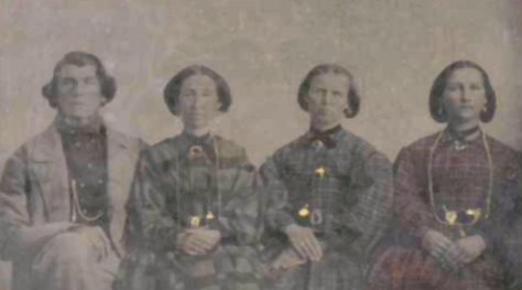 Ira_Eldredge_and_wives Mormon man Ira Eldredge with his three wives Nancy Black Eldredge, Hannah Mariah Savage Eldredge, and Helvig Marie Andersen Eldredge. Photo dated 2nd January 1864.