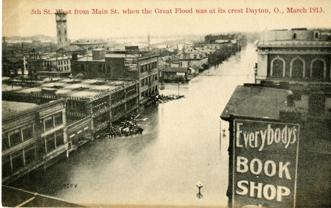 Postcard showing a view of Fifth Street looking west from Main Street, showing the flood waters when the flood was at its crest. March 1913.