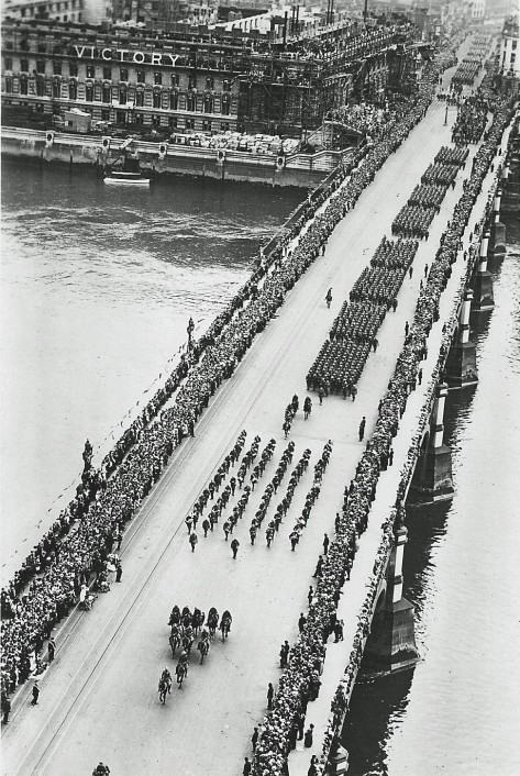 Victory march of the Allied troops in London. July 19th, 1919. The procession crossing Westminster Bridge. Saturday 19th July 1919 and contingents of Military units are taking part in th