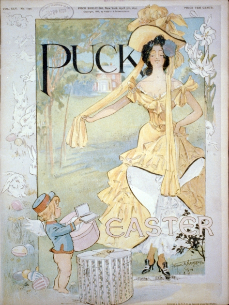 Easter_-_Puck_magazine_cover_1899_Apr_5_cph_3b52586 Cupid as messenger delivering hat box to fashionably-dressed woman. Cover to Puck, 5th April, 1899 issue. Puck Magazine.