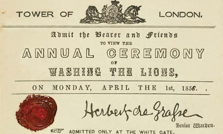 Invitation to a bogus event at the Tower of London for April Fool's Day 1856