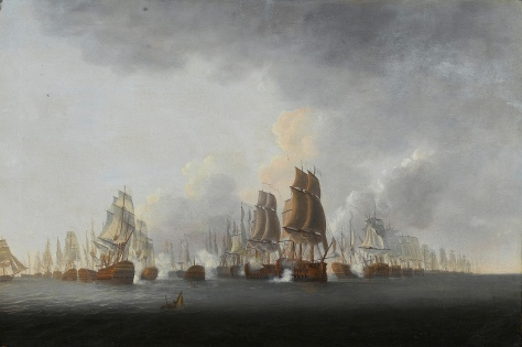 Lord Rodney_s flagship 'Formidable_ breaking through the French line at the battle of the Saintes, 12th April 1782, painted between 1784 and 1787 by Lieutenant William Elliott of t