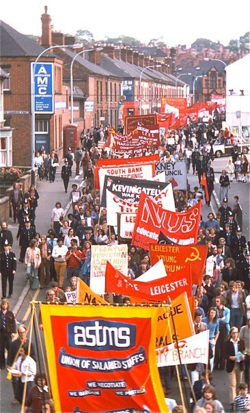 March_against_racialism,_Leicester,_England,_1974 Anti-fascist march in Leicester, 24th August 1974.