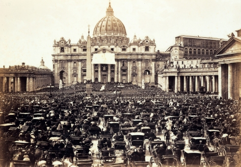 Ostermesse_auf_dem_Petersplatz_Rom Easter Mass at St. Peter's Square, Roma, presided by Pope Pius IX. 16th April 1865.