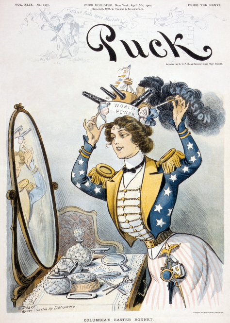 Puck_cover2Cover of Puck magazine, 6 April 1901. Columbia's Easter bonnet - Ehrhart after sketch by Dalrymple.