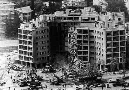 The April 18, 1983, United States embassy bombing was a suicide bombing in Beirut, Lebanon, that killed 63 people, including 17 Americans. 3 days afterwards.