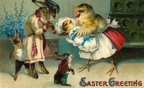 The odd world of Victorian Easter cards._88779231_bunny_amp_chick3