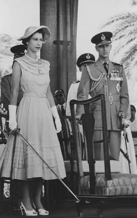 Queen_Elizabeth_in_Aden_1954 Queen Elizabeth preparing to knight subjects in Aden, Yemen. 27th April, 1954. Prince Philip on the side.