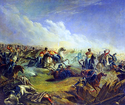 Russian_Guard_Hussars_attacking_Warsaw_7th_September_1831 Russian Guard Hussars attacking Warsaw 7th September 1831. Mikhail Lermontov