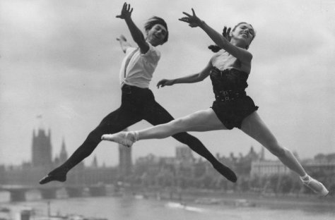southbank-centre-7-1444132505-view-0 Cast members of the Festival Ballet, captured mid-leap on London's Southbank, 31 May 1952.