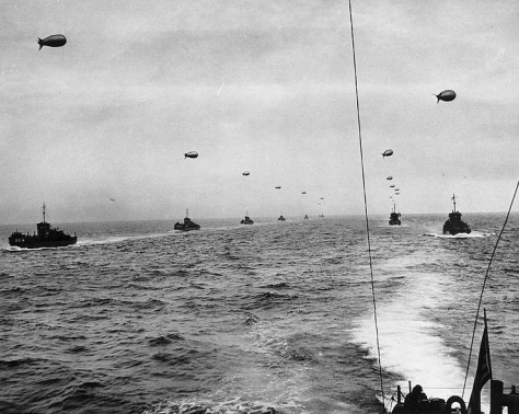 A convoy of Landing Craft Infantry (Large) sails across the English Channel toward the Normandy Invasion beaches on D-Day, 6 June 1944.