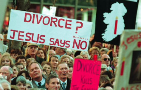Anti-divorce protest in Ireland By the time Ireland voted on divorce in 1995, it was the only country in Europe where divorce was banned.