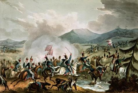 Battle_of_Morales,_2nd_June,_1813;_painted_by_William_Heath,_engraved_by_Thomas_SutherlandThe Battle of Morales Spain 2 June 1813. Between the Duke of Wellington vanguard and the rear gu