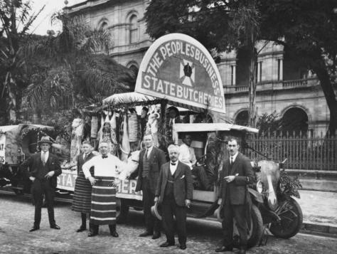 Butchers posing in front of their Labour Day float, Brisbane, 1920 Thomas William Anderson, formerly of Toowoomba, is pictured at the far right.