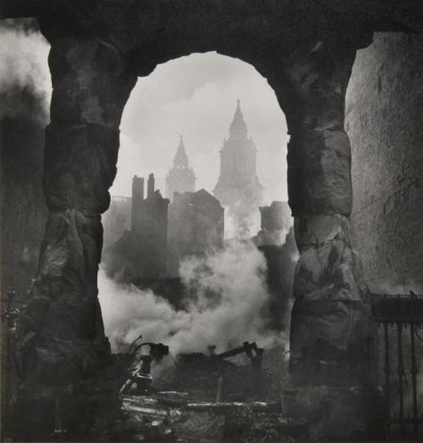 Cecil Beaton, 'The Western Bell Towers of St Paul's Cathedral After the Incendiary Raid of 29 December, London', 1940.