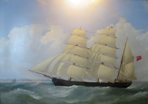 This painting is titled The Barque Wallaroo Arriving at Madras 6th June, 1865. It is by Frederick Tudgay.
