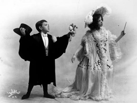 Fred & Adele Astaire. circa 1906. The photograph is a publicity photograph illustrating Fred Astaire and Adele Astaire in a vaudeville act entitled A Rainy Saturday.