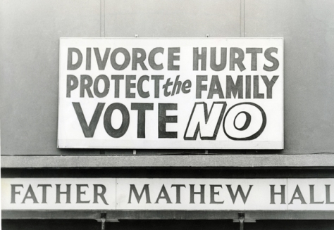 Ireland 1986. Anti-divorce posters at the Father Mathew Hall on polling day for the Divorce Referendum on 26 June.