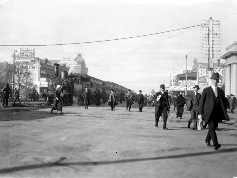 King William Street, Adelaide, South Australia on the 31st of May, 1914. It was the last day the Glenelg train came up King William Street.