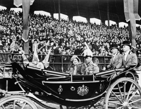 RoyalVisitLandsdownePark Arrival of Their Majesties King George VI and Queen Elizabeth, in the State carriage, in front of grandstand at Lansdowne Park, Ottawa, Canada. 19th May 1939.