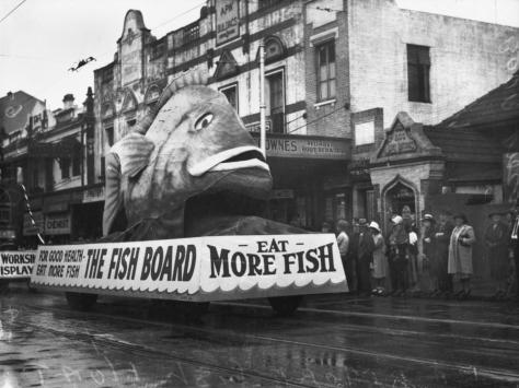 StateLibQld 2 107924 Red Emperor float in the Labour Day procession, Brisbane, 1940. The Fish board - Eat More Fish. Vintage.