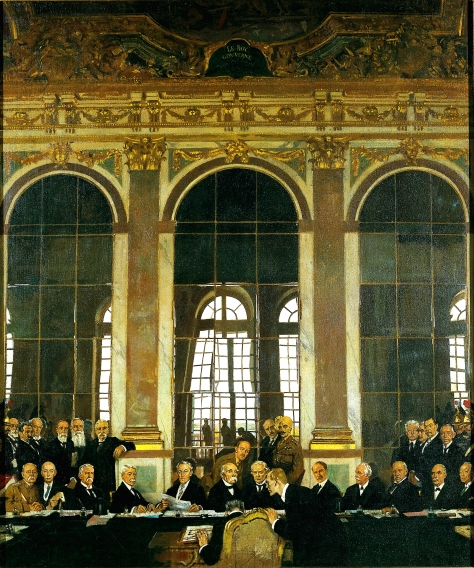 The Signing of Peace in the Hall of Mirrors, Versailles, 28th June 1919.