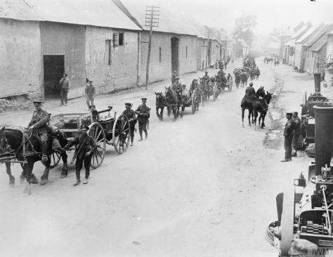 The_Battle_of_the_Somme,_July-november_1916_The regimental transport of the 10th Battalion, East Yorkshire Regiment (Hull Commercials) marching to the front line; near Doullens, 28th Jun