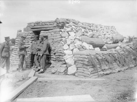 The_British_Army_on_the_Western_Front,_1914-1918_Q698 The British Army on the Western Front, 1914-1918 Gunners of the Royal Garrison Artillery outside a bomb-proof dug-out at Reninghelst