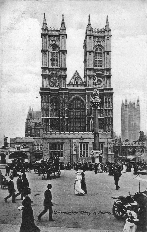 This is a view of the west front of Westminster Abbey showing the Coronation annexe. The annexe was built in the Gothic style in order to blend in with the Abbey for the coronation of Ki