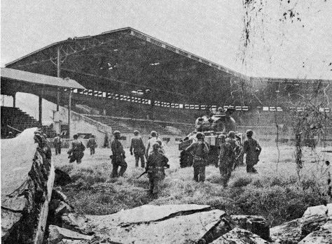 U.S. troops at the Rizal Baseball Stadium, Manila, Philippines. 16th February 1945.